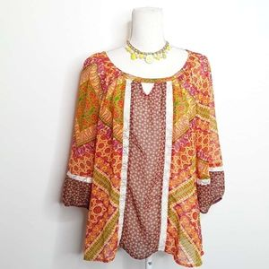 Anthropologie Fig and Flowers Boho Blouse EUC